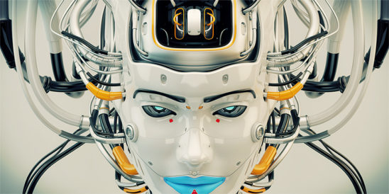 Stylish robot geisha with blue lips