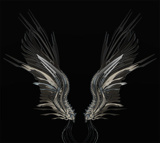 robotic wings on black background