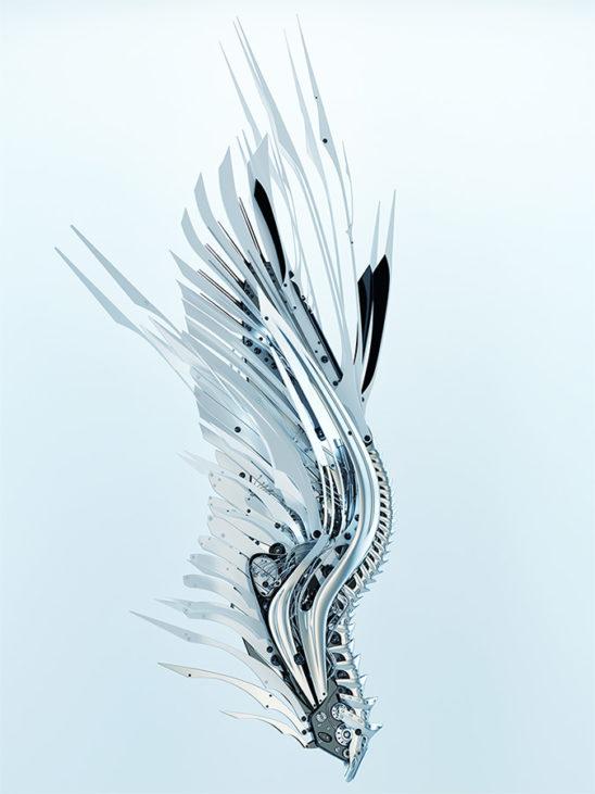 White robotic wing