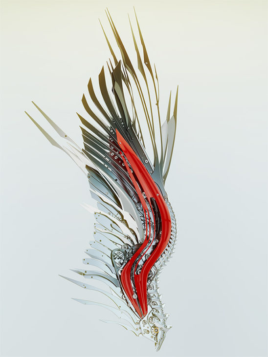 red steel robotic wing