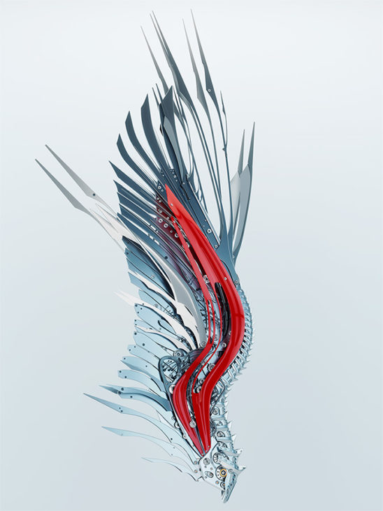 Red robotic wing