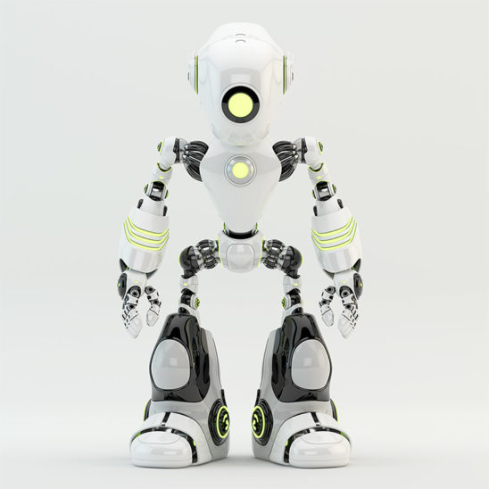 oculus robot front render white with yellow illumination