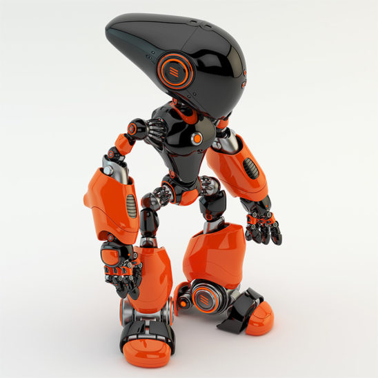 black - terracotta colored long-headed robot