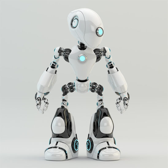 white robot oculus with long head and blue illuminated parts