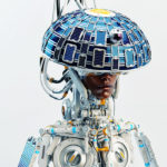 Afrosamurai robot with round, circle solar panel and camera on head, as hat