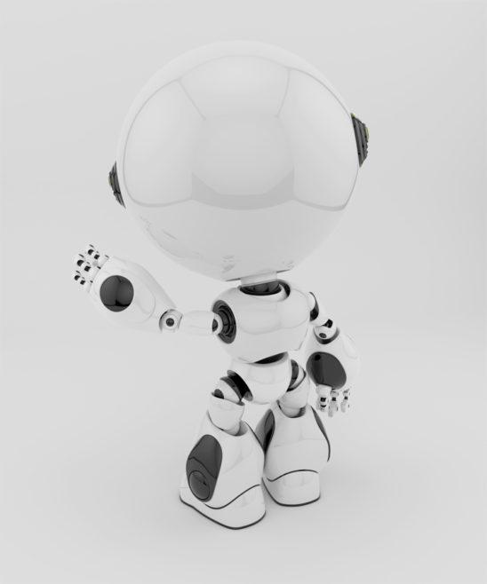 white circle robot backwards with left hand up