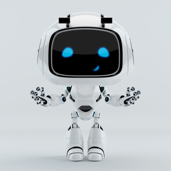 positive cute smiling robot unit 9 gesturing