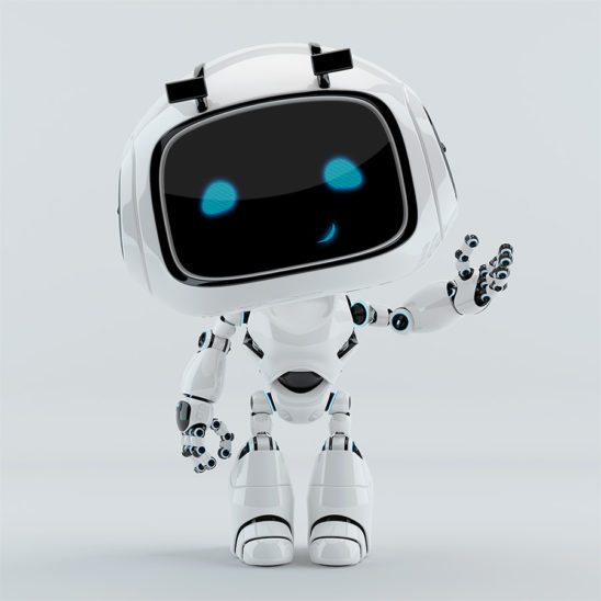Smiling gesturing robotic character