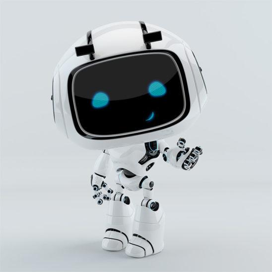 robotic character gesturing