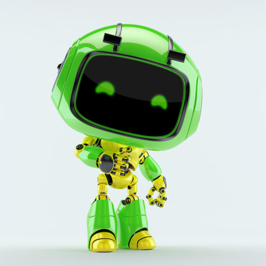 Cute green robot toy