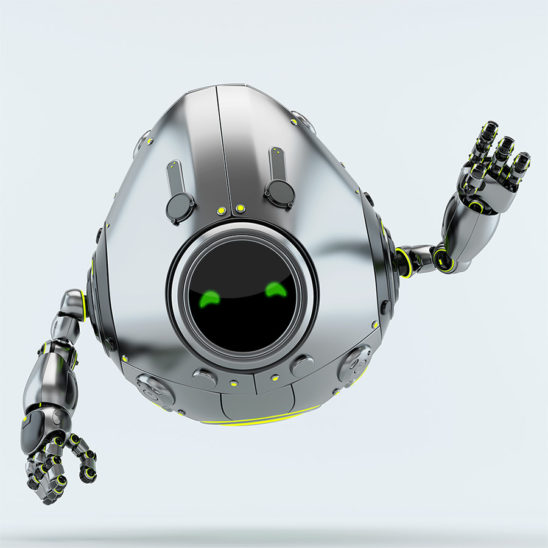silver egg bot with raised arm greets you