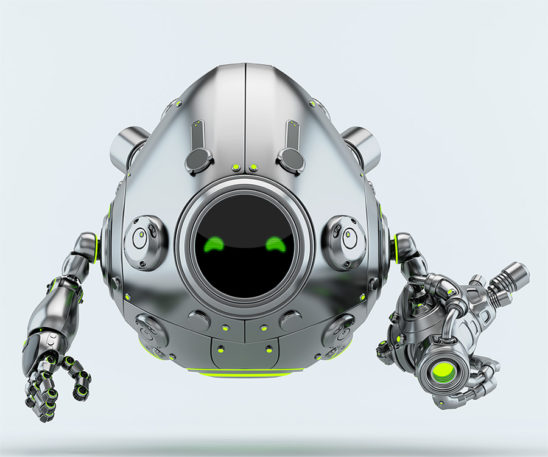 Silver metal robotic egg with futuristic gun blaster