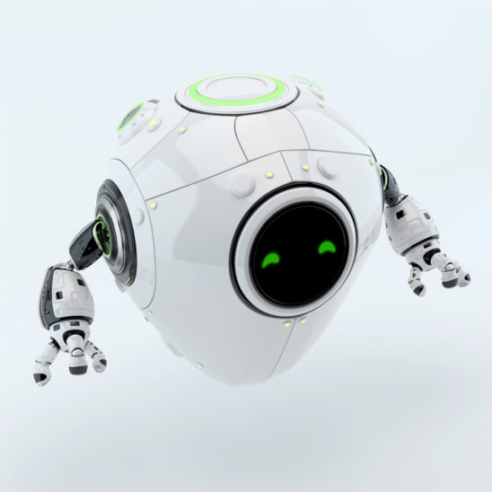 Simple and smart white egg aero bot toy with green digital eyes