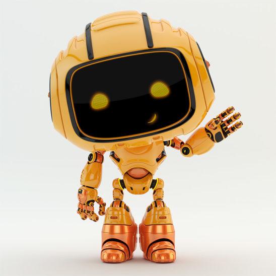 Engineer orange bot greeting