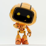 final affirmation thumb up from orange engineer robot