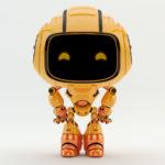 Hands on hips, smart orange robot engineer