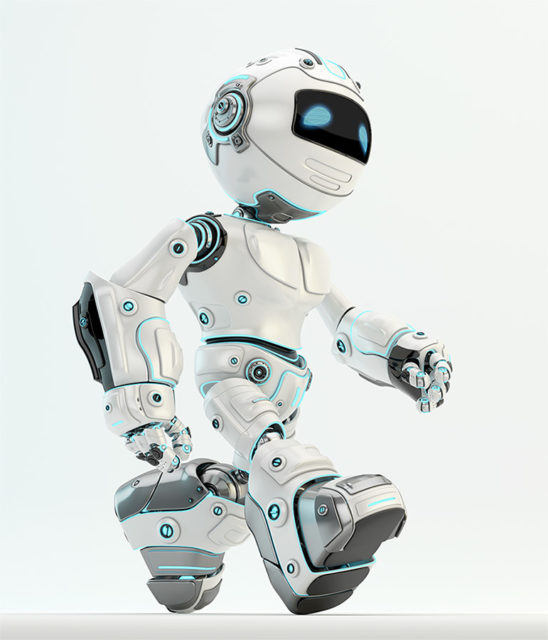 Robotic unit 5 walking. White plastic material with blue illumination, side render