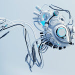 Robotic connected white heart. Futuristic cyber organ in blue color correction