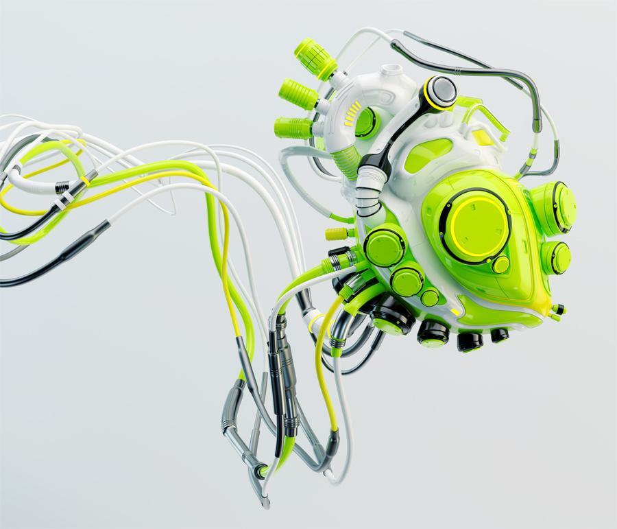 Wired green robotic heart. Bright futuristic organ