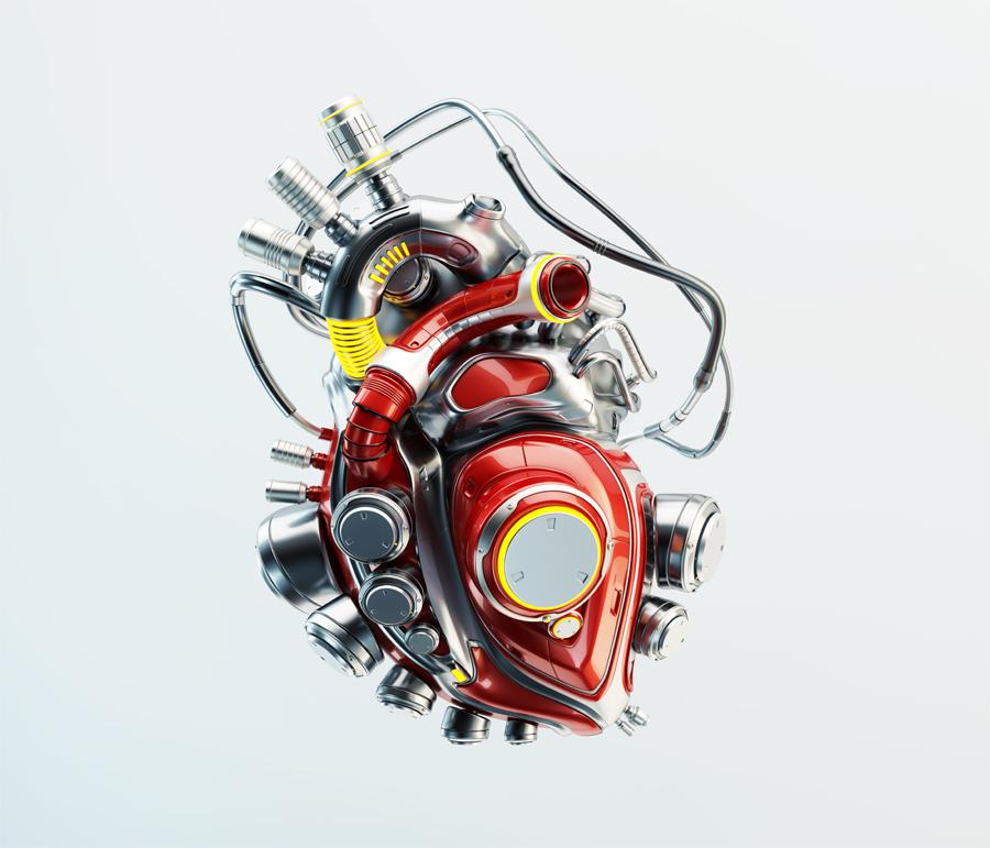 Red robotic futuristic heart organ