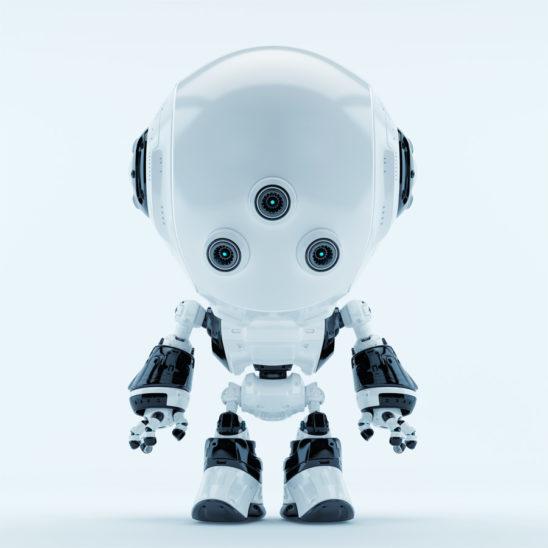 White fun bot with three little eyes