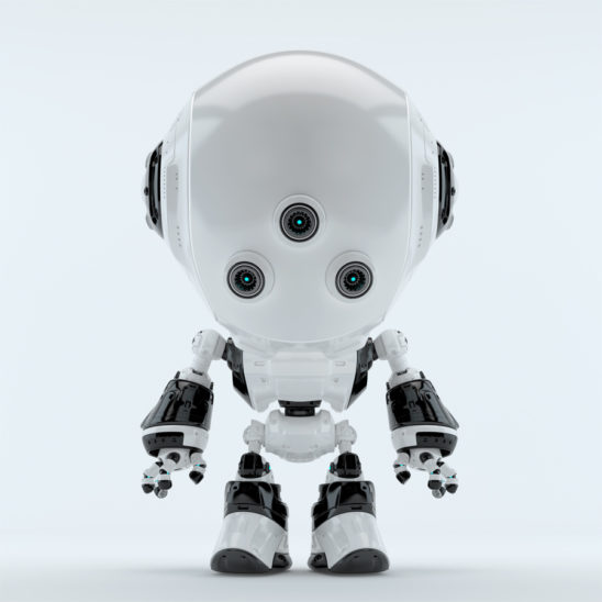 White fun bot with three little eyes in front pose