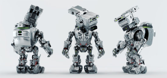 Three poses of assistant bot character