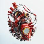 red robotic heart organ