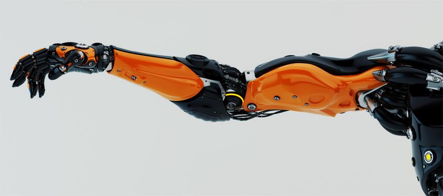 orange-black stylish futuristic robotic arm