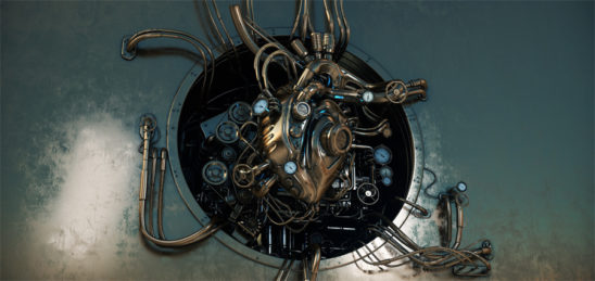 Steampunk image with heart as main engine