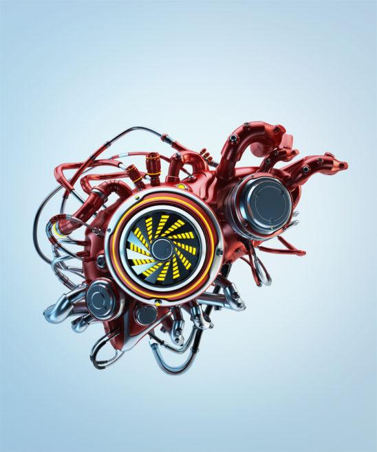 robotic liver on bluish background