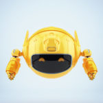 Unusual orange robotic toy with digital eyes on face-screen