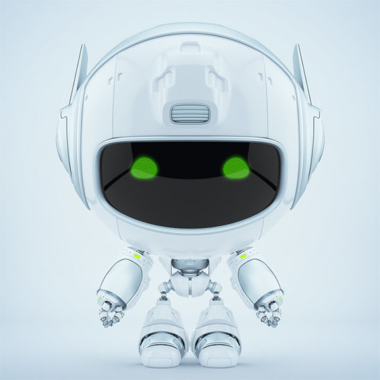 Cute white robot promoter with green digital eyes