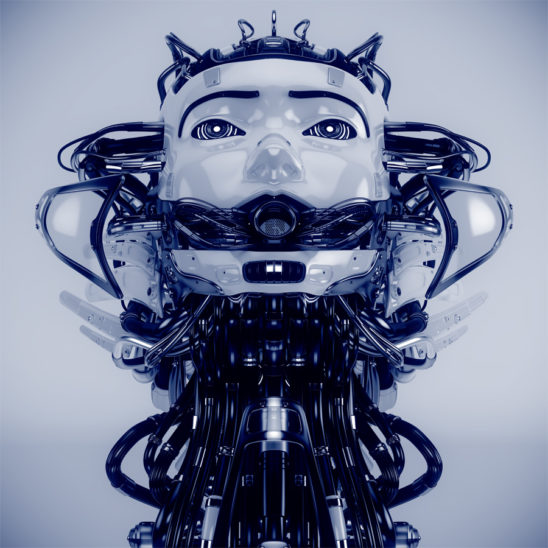 Robotic girl with cables, looking like medusa gorgon. Head up front view