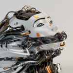 Stylish robotic girl with gap on mouth and many cables as dreadlocks