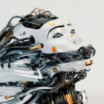 Stylish robotic girl with gap on mouth and many cables as dreadlocks. Side angle