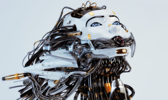 Medusa gorgon robot girl with gap on mouth