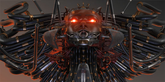 Old, rusty, gorgon robotic wired girl's head in impressive wide composition, upper angle with bright flares on eyes