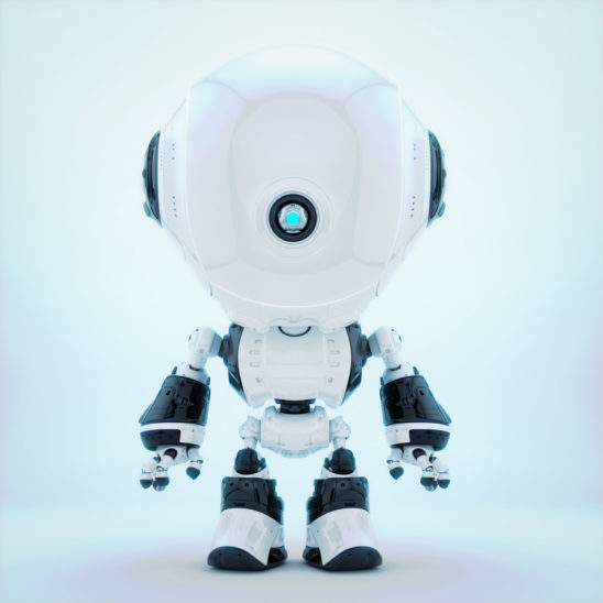 White fun bot with one eye-like camera