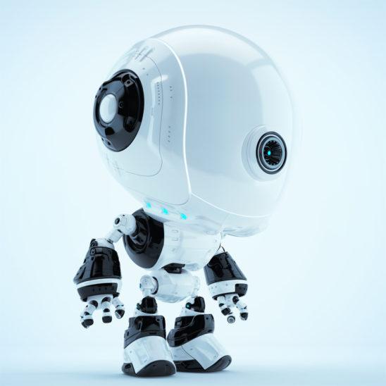 White-black fun bot in side angle