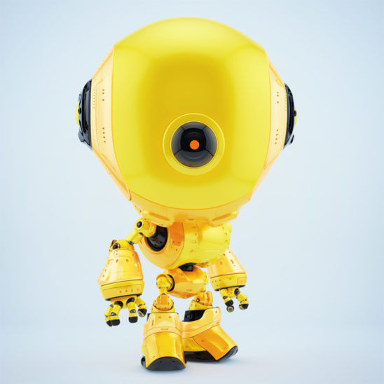 Watching yellow fun bot from side angle