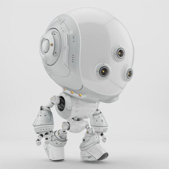 White fun bot with three eyes walking