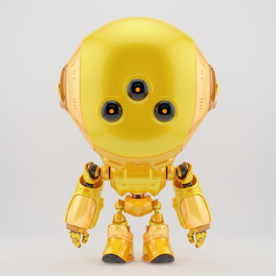 Orange fun bot with three big eyes