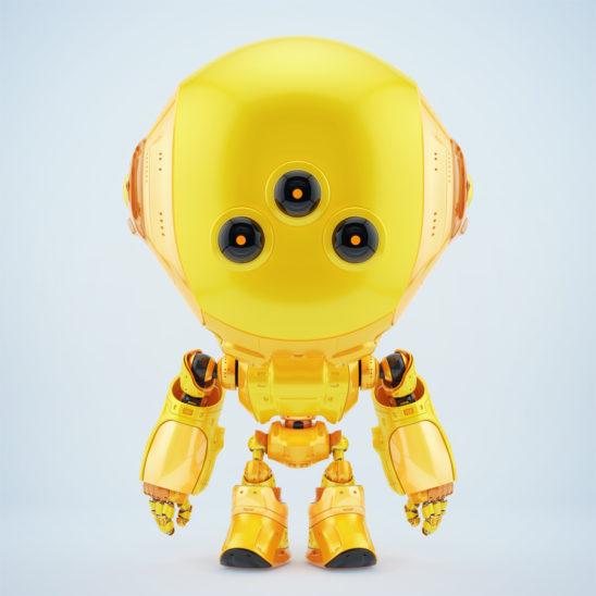 Cute orange fun bot with three big eyes in front render