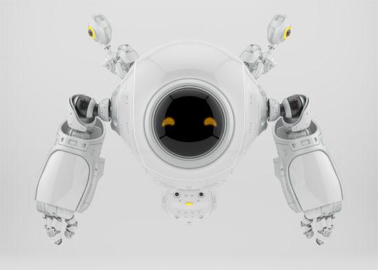 White slogger working robot