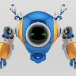 Multicolored slogger robot with circle screen face