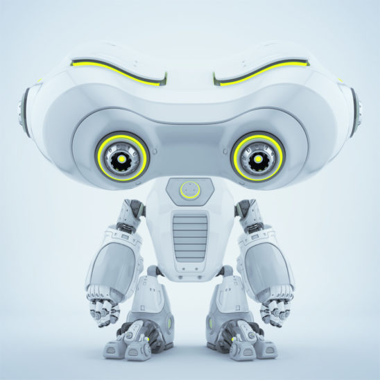 White Look-see robot with head down
