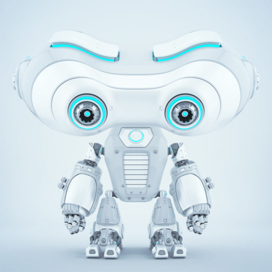 smart white-gray look-see robot with blue illuminated elements