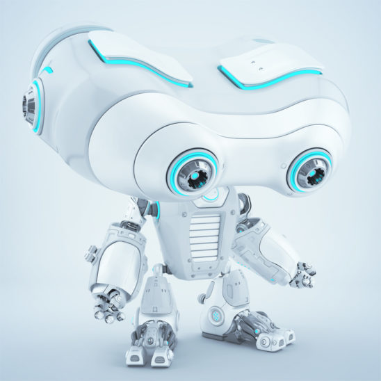 Look-see robotic creature looking down. Side angle