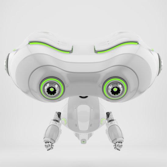 Aerial look-see robotic toy levitating